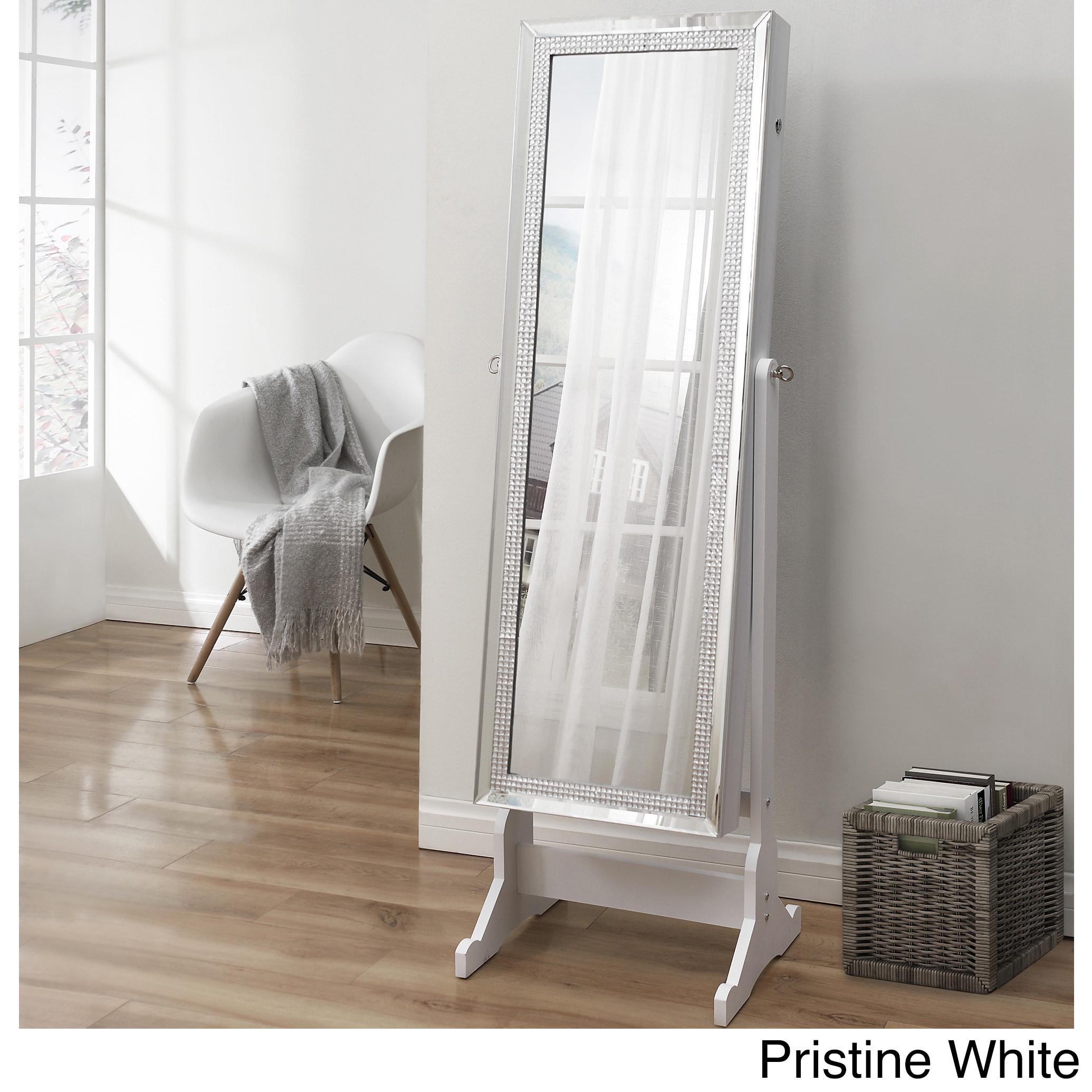 Prestige Cheval Mirror Jewelry Armoire (White - White Fin...