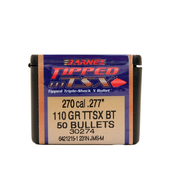 Barnes Bullets Triple-Shock X 270 Caliber, 110 Grain, Tipped Spitzer Boattail, Per 50