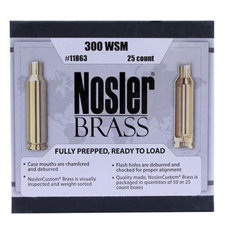 Nosler Custom Reloading Brass 300 Winchester Short Magnum (WSM), Per 25