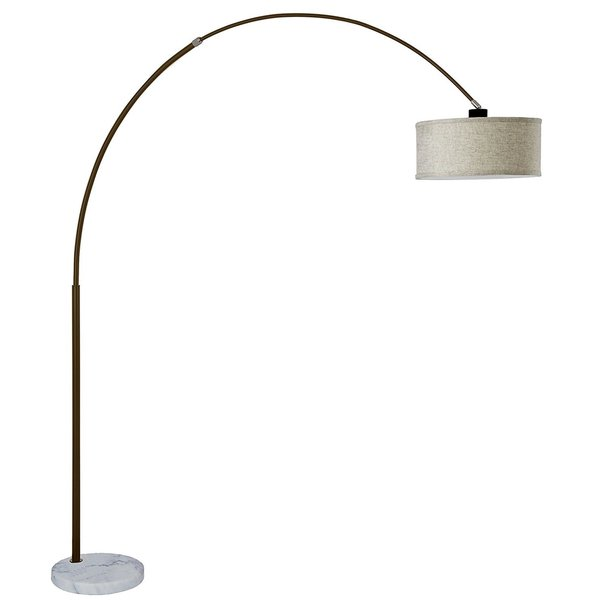 Q-Max Steel Adjustable Arching 81-inch Floor Lamp With Beige Shade White Marble Base