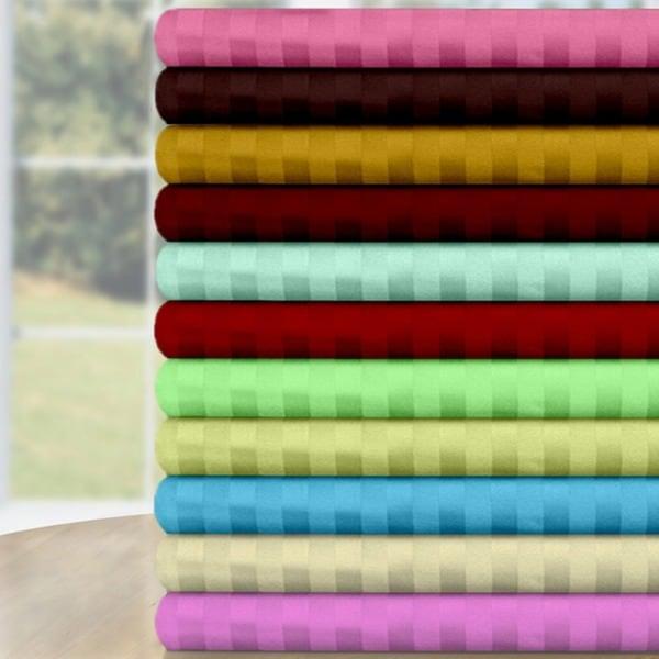 Luxury Cotton Sateen 4-piece Dobby Stripe Sheet Set