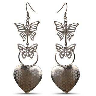 Liliana Bella Butterfly Heart Goldplated Oxidised Chandelier Earrings