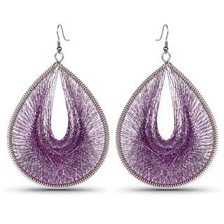Liliana Bella Oxidized Metal Purple Thread Handcrafted Dangle Earrings