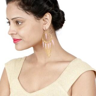 Liliana Bella Gold-plated Pink Spike Chandelier Earrings