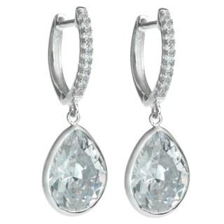 Queenberry Sterling Silver Teardrop Clear CZ Crystal Charm Hoop Saddleback Dangle Earring