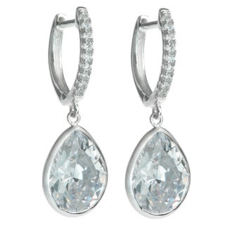 Queenberry Sterling Silver Teardrop Clear CZ Crystal Charm Hoop Saddleback Dangle Earring