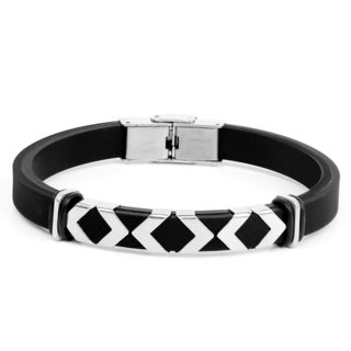 Liliana Bella Black Polyurethane Leather Men's Bracelet