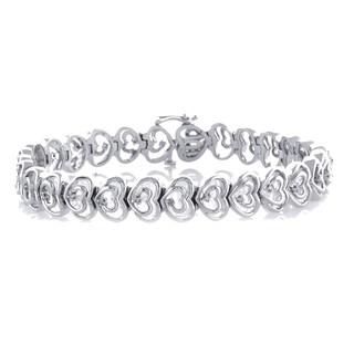 Women's Shared Heart Diamond 1/5 ct. TDW Bracelet with Sterling Silver (I-J, I2-I3)