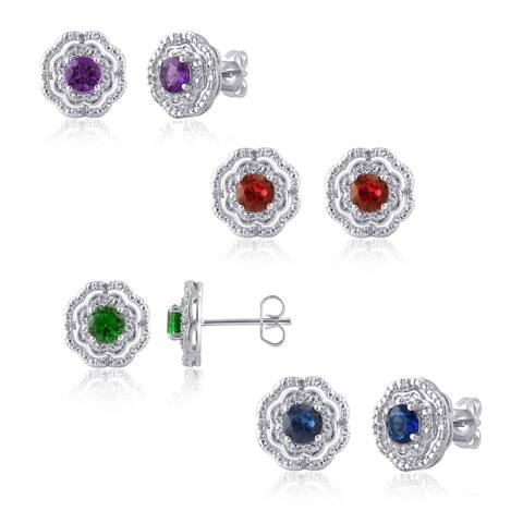 Divina Silver Overlay Gemstone and Diamond Accent Flower Stud Earring.(I-J,I2-I3)