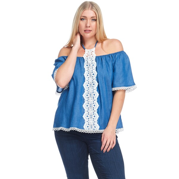 3f0b682c15a99 Hadari Women  x27 s Plus Size Casual Off Shoulder Crochet Denim Blouse Top