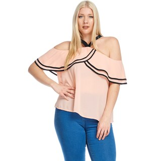 Hadari Women's Plus Size Sexy Off Shoulder Halter Blouse Top