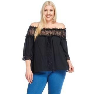 Hadari Women's Plus Size Off Shoulder Casual Lace Crochet Blouse Top