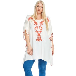 Hadari Women's Plus Size Loose Woven Floral Tunic Top