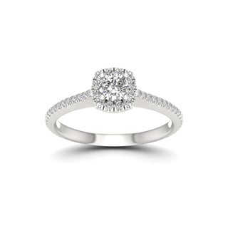 De Couer 5/8ct TDW Diamond Halo Engagement Ring - White