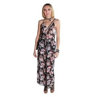 Hadari Women's Spaghetti Strap Sleeveless Flower Print Jumpsuit