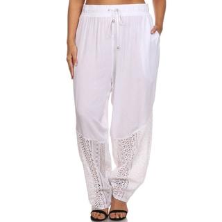 Hadari Women's Plus Size Casual Elastic Crochet Lace Hem Harem Pants