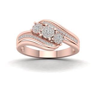 De Couer 1/4ct TDW Diamond Cluster Engagement Ring - Pink