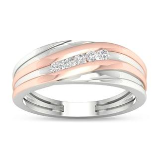 De Couer 1/6 ct TDW Diamond Men's Wedding Band - Pink