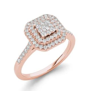 De Couer 1/4ct TDW Diamond Double Halo Engagement Ring - Pink