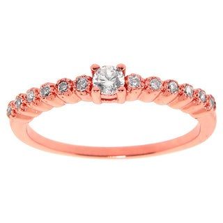 Eternally Haute 14k Rose Gold-plated Cubic Zirconia Vintage Bezel Anniversary Stack Ring