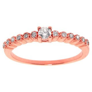 Eternally Haute 14k Rose Gold-plated Cubic Zirconia Vintage Bezel Anniversary Stack Ring - Pink