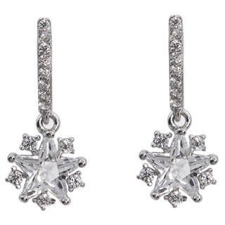 Eternally Haute Solid Sterling Silver Cubic Zirconia Pave Star Drop Earring