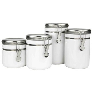 Home Basics White Canisters with Stainless Steel Tops (Pack of 4)