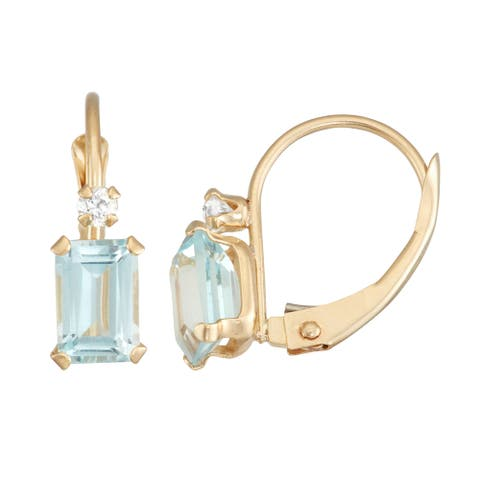 Gioelli 10K Gold Created Aquamarine Leverback Earrings