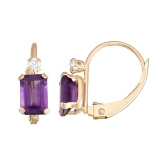 Gioelli 10K Gold Amethyst Leverback Earrings
