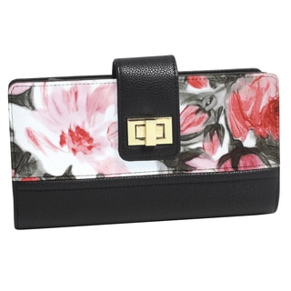 Floral Abstract Black and Goldtone Super Wallet