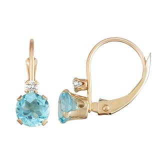 Gioelli 10K Gold Swiss Blue Topaz Leverback Earrings