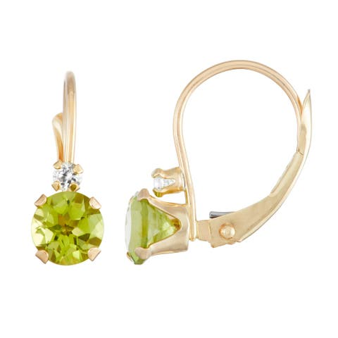 Gioelli 10K Gold Peridot Leverback Earrings