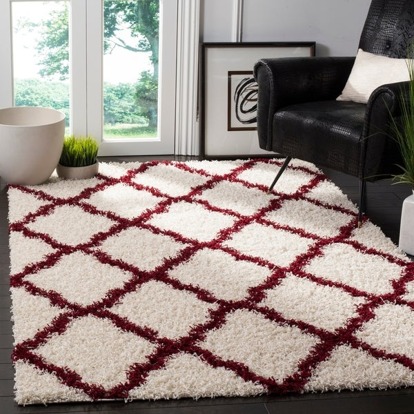 Shop Safavieh Dallas Trellis Ivory Red Shag Rug 4 X 6