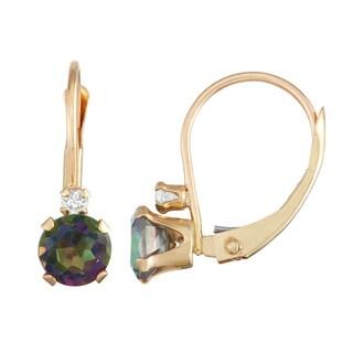 Gioelli 10K Gold Mystic Topaz Leverback Earrings