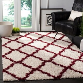Safavieh Dallas Trellis Ivory / Red Shag Rug - 5' 1 x 7' 6