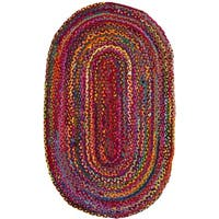 Safavieh Braided Hand-Woven Cotton Red / Multi Area Rug - 3' x 5' oval