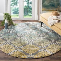 "Safavieh Evoke Vintage Watercolor Damask Grey / Ivory Distressed Rug - 5'1"" x 5'1"" round"