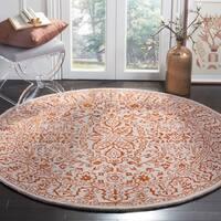 Safavieh Handmade Glamour Contemporary Grey/ Rust Viscose Area Rug - 6' x 6' Round