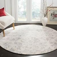 Safavieh Handmade Glamour Damask Scrolls Grey Viscose Area Rug - 6' Round