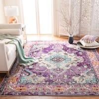 Safavieh Monaco Bohemian Medallion Violet/ Light Blue Distressed Rug (6' 7 Square)