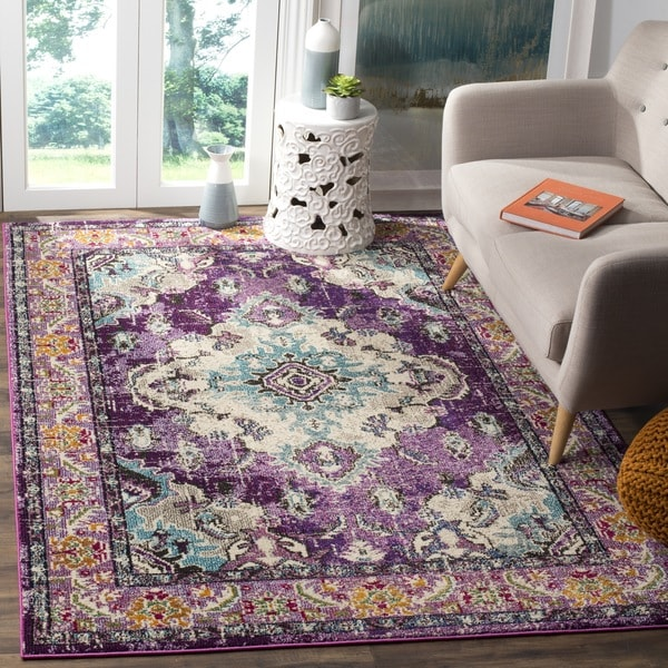 Safavieh Monaco Vintage Boho Medallion Violet/ Light Blue Square Rug - 6' 7 Square