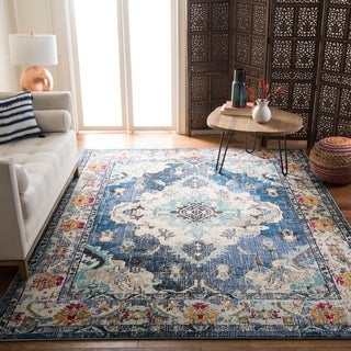 Safavieh Monaco Bohemian Medallion Navy / Light Blue Distressed Rug (5' Square)