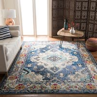 "Safavieh Monaco Vintage Boho Medallion Navy / Light Blue Square Rug - 6'7"" x 6'7"" square"