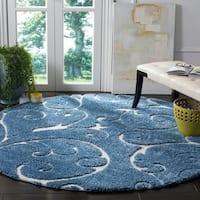 Safavieh Florida Shag Scrollwork Elegance Light Blue/ Cream Area Rug - 4' x 4' Round