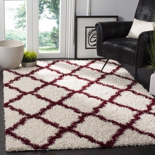 Safavieh Dallas Trellis Ivory / Red Shag Rug - 6' Square