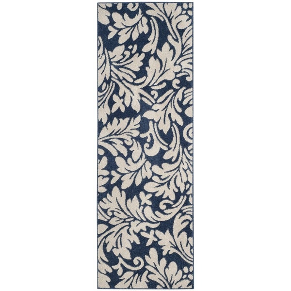 Safavieh Amherst Indoor / Outdoor Navy / Ivory Runner (2' 3 x 7')