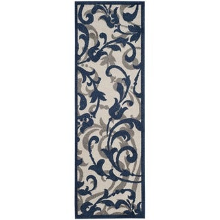 Safavieh Amherst Indoor / Outdoor Ivory / Navy Runner (2' 3 x 7')