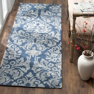 Safavieh Bella Hand-Woven Wool Navy / Grey Area Rug Runner - 2'3 x 7'