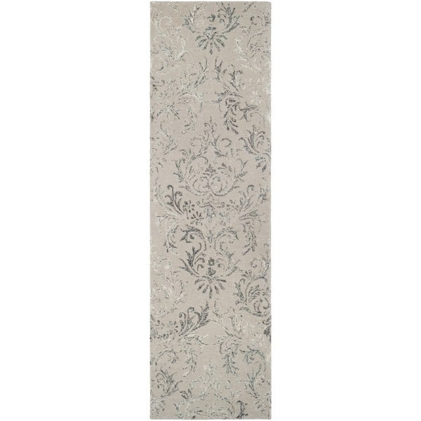 Safavieh Handmade Glamour Damask Scrolls Grey Viscose Runner Rug - 2'3 x 8'