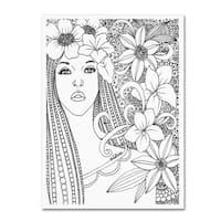 KCDoodleArt 'Flower Girls 5' Canvas Art - White
